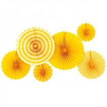 סט מניפות נייר מיקס צהוב